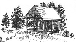 line drawing of cabin