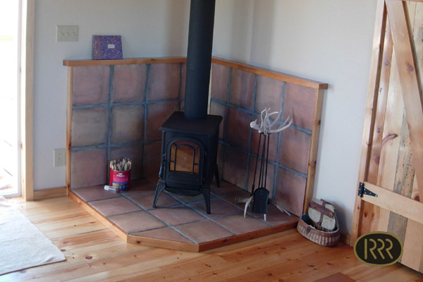 The wood stove keeps the inside warm and comfortable.